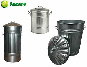 GALVANISED METAL BIN, SMALL, MEDIUM, LARGE, XL, XXL, METAL DUSTBIN TRASH CAN