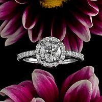 Halo Pave 1.40 Carat SI1/H Round Diamond Engagement Ring 14K White Gold