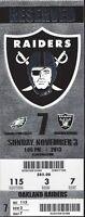 2013 NFL EAGLES @ RAIDERS FULL UNUSED FOOTBALL TICKET - FOLES 7 TOUCHDOWNS!!