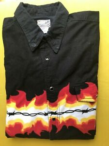 Vintage EXPRESS RIDER Black with flames and barbed wired print Shirt men's (L)