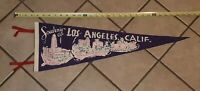 LOS ANGELES CALIFORNIA VTG SOUVENIR FELT PENNANT c 1950's CITY HALL FOUNTAIN