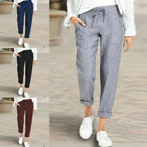 US Womens High Waist Cotton Linen Trousers Casual Loose Solid Pocket Long Pants
