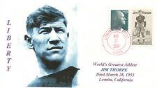 JIM THORPE OLYMPIC ATHLETE Football Player Portrait Cachet Handstamp PM