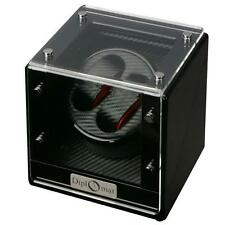 Diplomat Two Watch Winder Black Wood Finish Carbon Fiber Pattern Red Accents 475