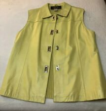 Lambskin Leather Vest Ladies SZ L Chartreuse With Stretch Cable Knit Back NWOT