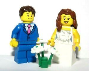 Lego Wedding Minifigure Figure Bride Brown Hair & Groom Blue Suit Pink Tie