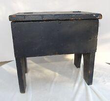 Antique Primitive Black Painted Wood Stool w/ Hinged Lid Shoe Shiner?? Furniture