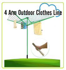New Outdoor Ground Socket Airer Clothes Dryer 4 Arm 50M Rotary Clothes line