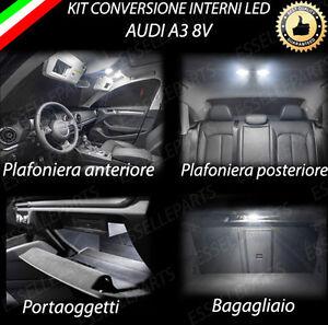 KIT LED INTERNI PER AUDI A3 8V PLAFONIERA ANTERIORE+POSTERIORE+PORTAOGGETTI+BAG