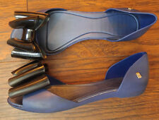 Melissa D'Orsay Flats Jelly Rubber Navy Blue Black Bow 39 / 8 Scented
