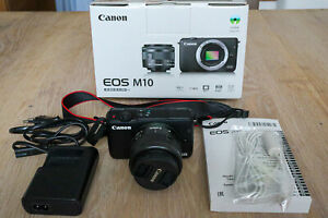 Canon EOS M10 18MP Systemkamera - Schwarz (Kit w/ 15-45mm IS STM) TOP Zustand