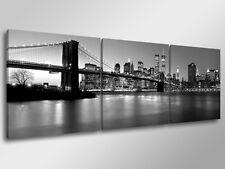 Quadro Moderno 3 pz. NEW YORK SKYLINE B/N cm 150x50 arredamento stampa su tela