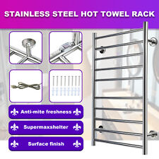 100W 10 Heated Bars Hot Towel Warmer Electric Drying Rack Stainless Steel