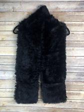 Vintage? Cozy Faux Fur Stole Wrap Scarf Vest With Pockets in Black