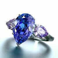 Fashion 925 Silver Women Rings Pear Cut Blue Sapphire Wedding Gift Ring Size6-11