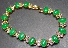 Gold Plate ICY Green JADE Cabochon Bangle Bracelet Diamond (Imitation) 310347