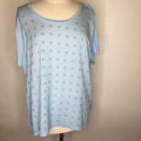Calvin Klein Women's Short Sleeve Blue Stretch Blouse Metal Grommets PLUS  A44