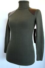 525 America Green Turtleneck Pullover Fake Leather Patches Size XS NWT