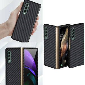 Carbon Fiber Case Back Cover Shell Skin for Samsung Galaxy Z Fold 3 Mobile Phone