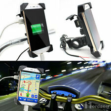 Motorcycle Bike Handlebar Rail Mount Phone Holder USB Charger CellPhone Holder