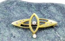 Jugendstil Brosche 585 Gold Diamanten Perle 585er Gelbgold vintage
