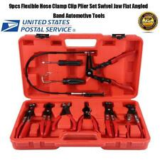 9PC Hose Clamp Clip Plier Kit Set Swivel Jaw Flat Angled Band Automotive Tool US
