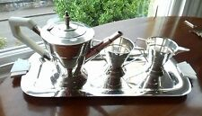 Art deco stylish silver plated stepped tea set and tray