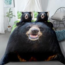 3D Black Bear Animal Bedding Set Duvet Cover Comforter Cover Pillow Case