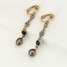 Boucles d'Oreilles Sortie d'usine Clip on Perle Culture Marron Cristal Bleu YD