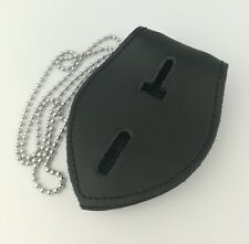 US Police Cosplay Metal Badge PU Leather Belt Clip Holder Cops Chains Pendant