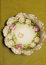 VTG R C MALMAISON BAVARIA HAND PAINTED NUT DISH CABBAGE ROSE PATTERN