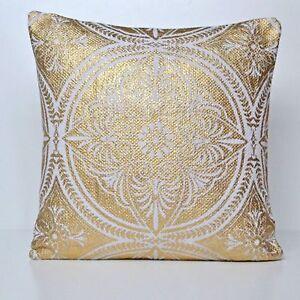 "Mandala Cushion Cover Gold White Cotton 50cm 20"" Hand Woven Decorative"
