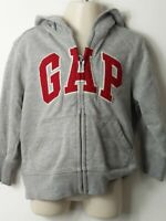 BOYS BABY GAP AGE 2 YEARS GREY & RED HOODED ZIP UP JACKET JUMPER TOP