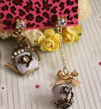 Hot Betsey Johnson Jewelry Bowknot Rhinestone Cup teapot Enamel Earrings Retro