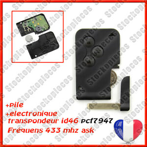CARTE CLE VIERGE COMPATIBLE MEGANE 2 PHASE 1/2 SCENIC 2 PHASE 1/2 CLIO 3 PCF7947