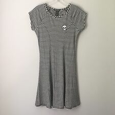 RARE Hot Topic Goth Gothic Punk Emo Black White Stripe Skull Patch Ribbed Dress!