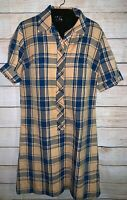 Vintage 70s Dress Size Medium or Small Blue Plaid