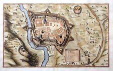 Eger Cheb République Tchèque Cuivre clés forteresse plan Topographia Merian BLASON 1650