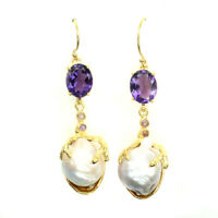 Oval 10x8mm Intense Purple Amethyst Pearl W Cz 925 Sterling Silver Earrings