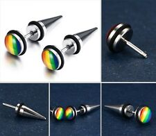 Titanium steel Pride earrings LGBT Jewelry ear stud 1 pair Lesbian Gay Rainbow
