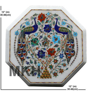 Marble Coffee Table Top Inlay Stones Mosaic Vintage Marquetry Side Table Antique