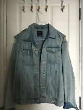 Bershka Zara Group Mens Denim Ripped Jacket Size M