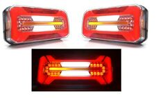 12/24V LED Rear Neon Tail Lamps 2x Lights w/ Dynamic Indicators for Scania Volvo