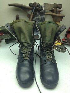 RO-SEARCH DISTRESSED VINTAGE BLACK LEATHER GREEN CANVAS MILITARY BOOTS SIZE 7 R