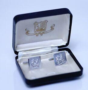 Vintage Sterling Silver Ethiopia Haile Selassie Dynasty Lion of Judah Cufflinks