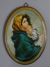 Religiöse Wandbild Goldfolie handgefertigt Holz Laminiert Maria Jesus Oval 28*20