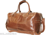 Large Burnished Brown Real Leather Holdall Duffle Travel Sports Gym Weekend Bag