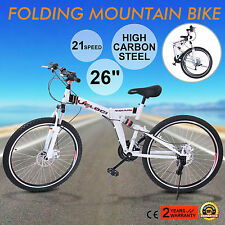 "26"" MOUNTAIN BIKE 21 SPEED CARBON STEEL FOLDING BICYCLE MTB BIKE HARDTAIL"