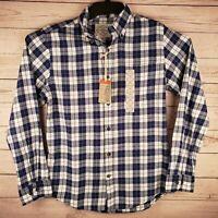St Johns Bay Mens Small Long Sleeve Button Down Blue White Plaid Shirt NWT
