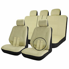 Car Seat Covers Full Set Solid Beige /Tan 17pc w/Steering Wheel Cover /Belt Pads